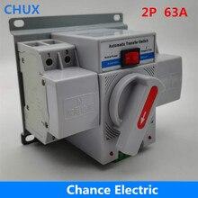 Interruptor de transferência automático de potência dupla 2 p 63a 230 v tipo mcb interruptor de transferência automática de potência dupla ats conversor de energia automática