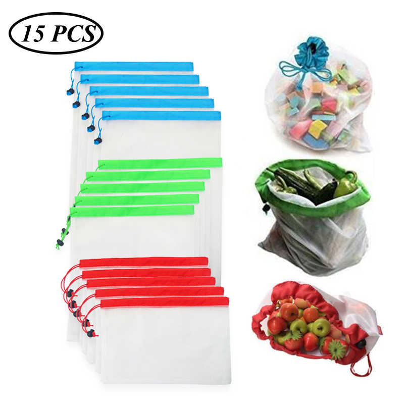 15pcs/lot Reusable Mesh Produce Bags Washable Eco Friendly Bags for Grocery Shopping Storage Fruit Vegetable Toys Sundries Bag
