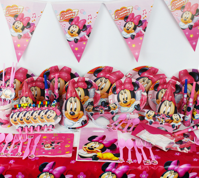 78pcs Minnie Mouse Baby Birthday Party Decorations Kids Evnent Party