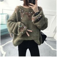 2017 Autumn Women Knited Loose Pullover Sweaters Female Casual Fluffy Mermaid Sequined Sweater Ladies Sweet Outwear