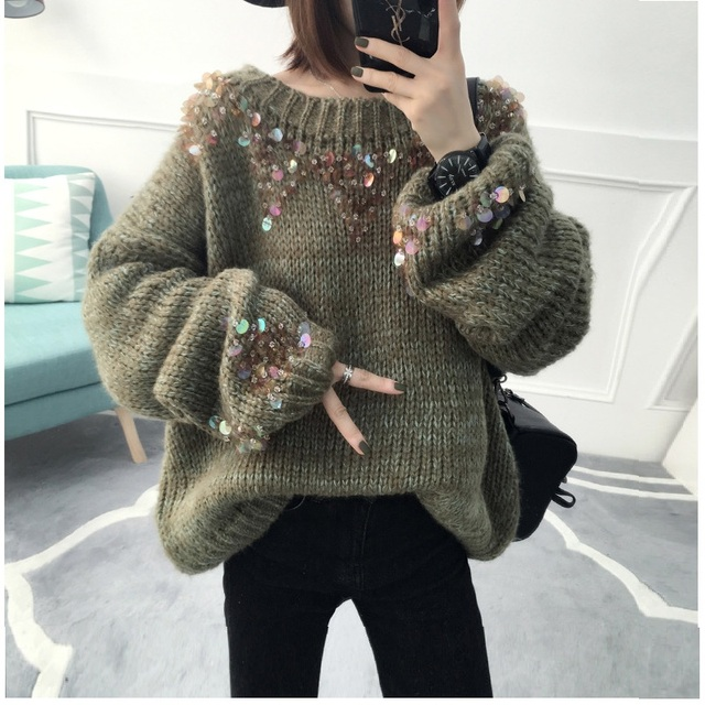 2018 Winter Korean Women Loose Pullover Knitted Warm Sweaters Female Casual  Fluffy Sequin Big Sweater Oversized Jumper Tops c0e8ff7d7