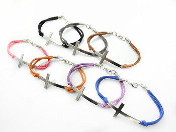 Fashion Jewelry cross multicolor charm leather bracelet for women 70pcs/Lot free shipping mix color
