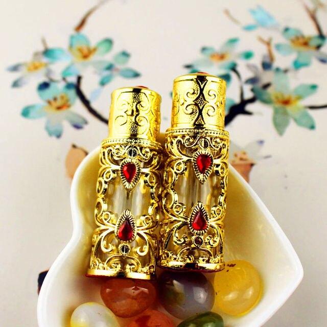 1 PC 3 ml Antiqued Metalen Parfumflesje Arabische Stijl Essentiële Oliën Fles Lichtmetalen Dropper Glazen Fles Bruiloft Decoratie Gift