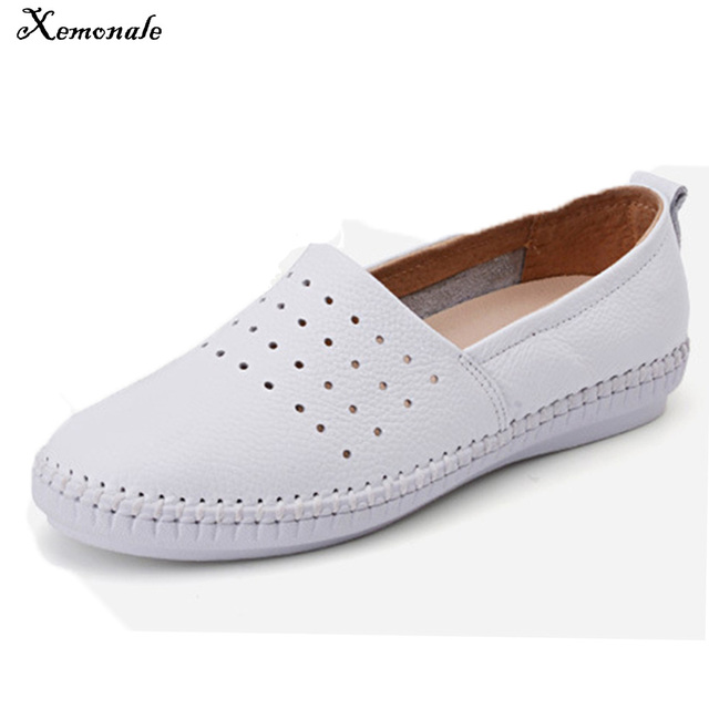 3285f172955 Xemonale women Espadrilles flats shoes Genuine leather cut out slip Ladies  Ballet Flats loafers Female Moccasins Shoes Ballerina