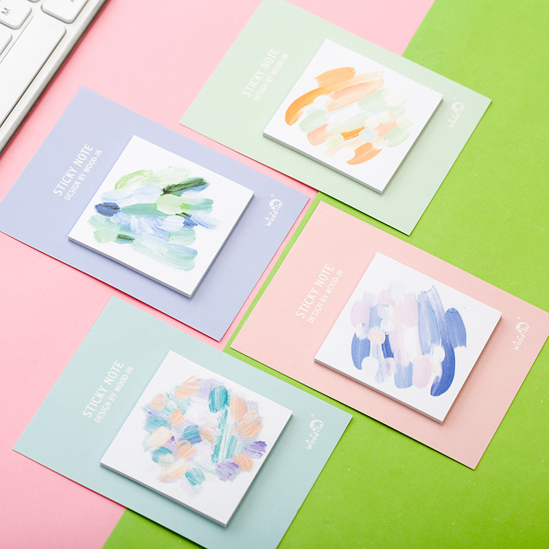 12 sets/1 lot Creative Bright Memo Pad Sticky Notes Escolar Papelaria School Supply Bookmark Post it Label