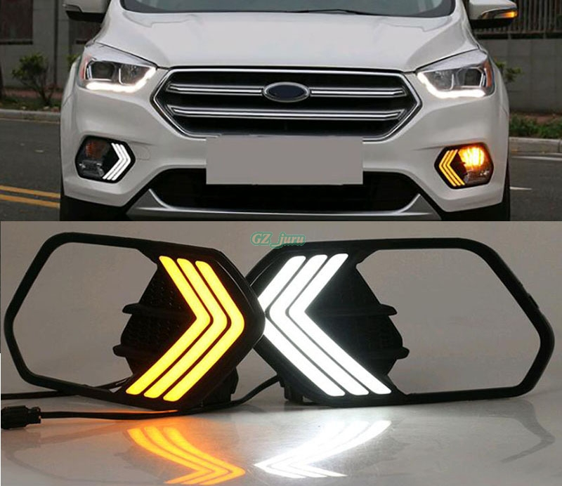 12V Waterproof LED DRL dimming style Relay Daytime Running Lights fog lamp with Turn Signal For Ford Escape Kuga 2017