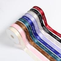 100 yards custom printed logo ribbon, width, gift packaging polyester decoration ribbon/print Satin LOGO Personal