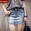 Высокой талией джинсовая юбка 2016 жаркое лето свободного покроя Saias основные американский стиль мини-карандаш джинсы юбки синий деним юбки