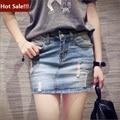 Alta saia Jeans cintura 2016 quentes do verão Casual Saias básica da American estilo Mini lápis Jeans Saias vestido azul Denim Saias