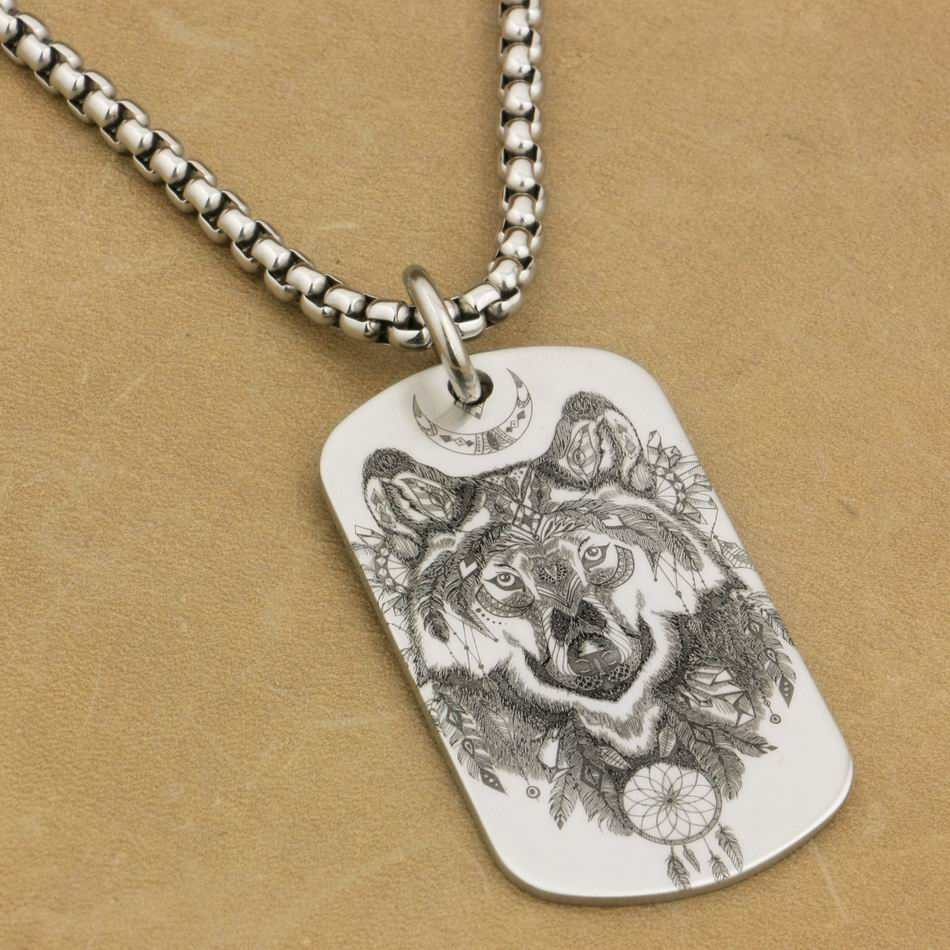 316L Stainless Steel High Detail Laser Engraved Indian Wolf Mens Biker Rocker Punk Pendant Dogtag 9X111 Steel Necklace 24 engraving service 316l stainless steel deep engraved skull cross mens biker rocker punk bangle cuff 5j122