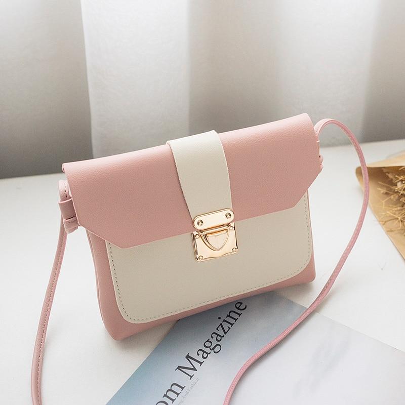 Crossbody Bags For Women 2018 New Ladies Korean Style Fashion Girls Mini Pink Leather Shoulder Bag Flap Envelope Messenger Bag