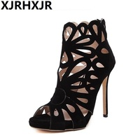 XJRHXJR 2018 Sexy Party Wedding Bridal Shoes Women Black Thin Heel Roman Gladiator Sandals Platform High