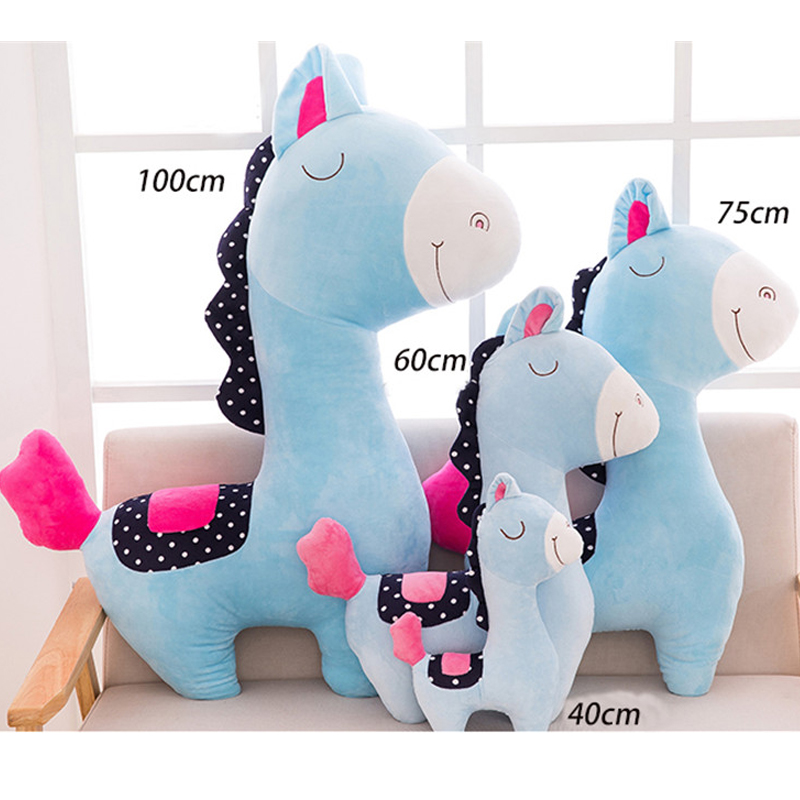 Fancytrader 100cm Giant Cute Soft Animal Horse Plush Pillow 39'' Big Stuffed Cartoon Horse Toy Doll Baby Present - 4