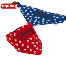 Hipidog Pets Dogs Paw Pattern Printed Adjustable Collar Scarf Bibs Neckerchief Bowtie Bandana for Doggie Cat Pet Accessories