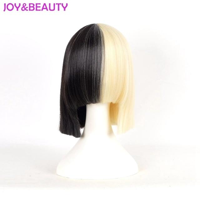 JOY BEAUTY Hair Long bang Sia wig Short Bob Wig Women s Half Blonde and  Black Mix Hair Short Straight Cosplay Wig 12inch long 8238dc5e1