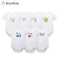 Kavkas Baby Bodysuit Boys Girls Summer Clothes Newborn Short Sleeve Cotton Jumpsuits White Cartoon Body Suit 0 9 Months 7Pcs/Lot