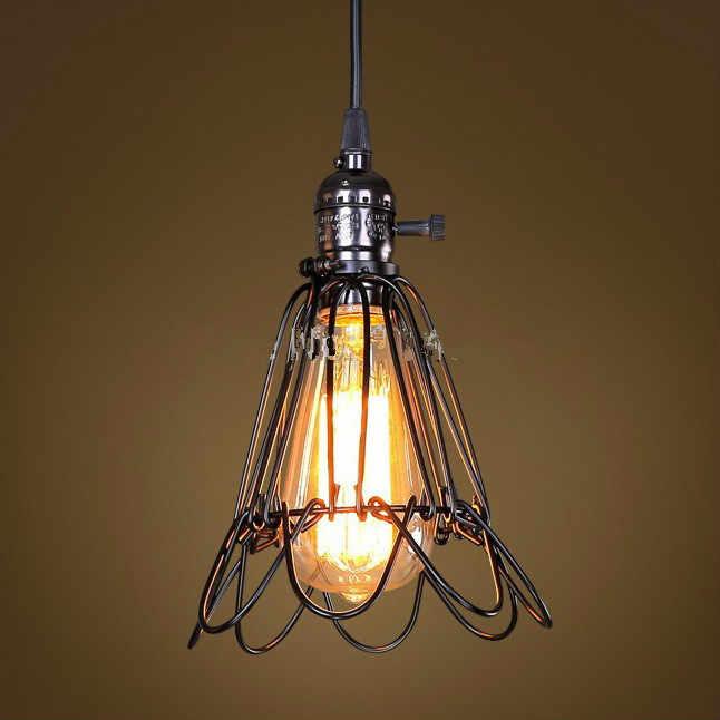 Black cable Unique American Style cage pendant Light,Vintage Bird Cage Decoration Pendant Lamp Industrial Lights E27/E26
