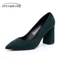 Women High Heels Suede Rough Square 8 5cm Heel Lady OL Single Shoes Green Lady Wedding