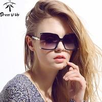 DRESSUUP New Fashion Big Frame Square Sunglasses Women Brand Designer Hollow Sun Glasses Female Glass UV 400 Oculos De Sol Gafas