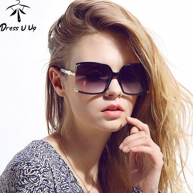 d49a803e5fd30 DRESSUUP Nova Moda Grande Moldura Quadrada Óculos De Sol Mulheres Grife Oco  Óculos de Sol UV