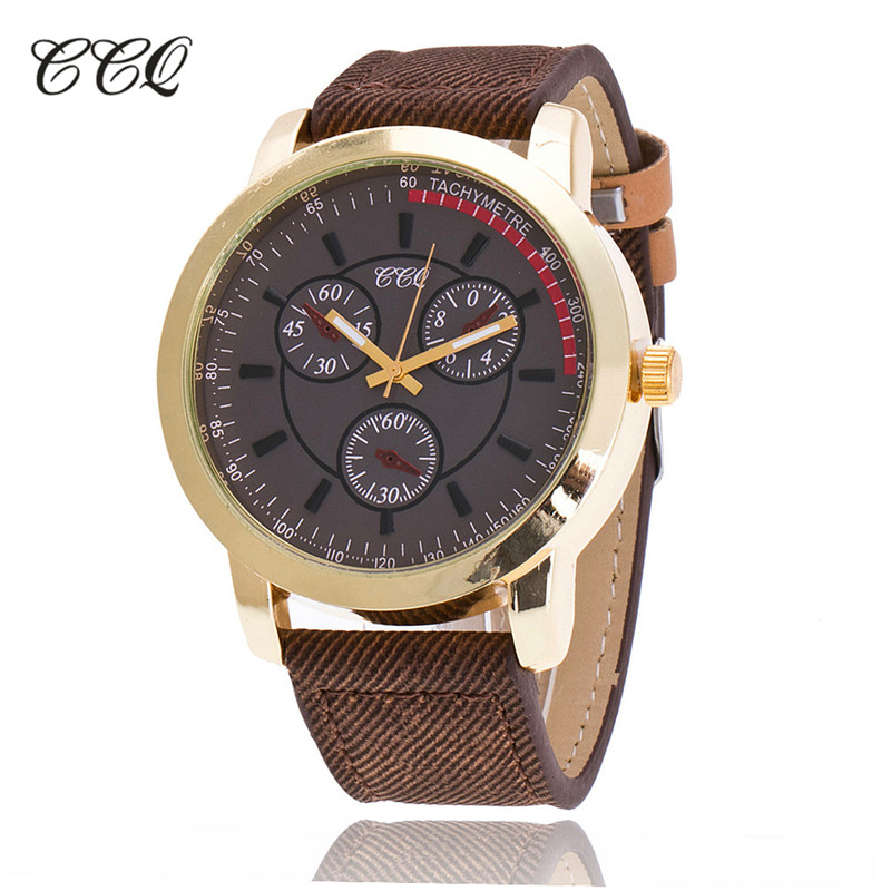 цены  CCQ Luxury Brand leather Men Watch Fashion Military Quartz Watch Relogio Masculino Clock Hours 1672