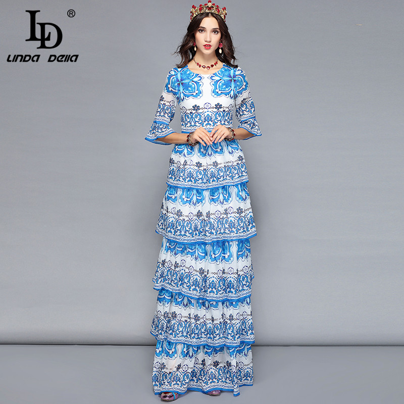 LD LINDA DELLA Women Long Maxi Dresses Tiered Blue and white Floral Print Casual Holiday Vacation Dress Elegant Party Dresses-in Dresses from Women's Clothing    3