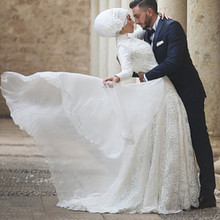 Vestido De Noiva 2017 Muslim Wedding Dress Long Sleeve Appliques Button Ball Gown Turkish Islamic Hijab Wedding Bridal Gowns