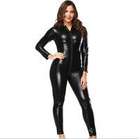 שחור שרוול ארוך Zip למפשעה של נשים סרבלי Romper Bodysuits עור Fullbody המבריק PVC ויניל Wetlook Catsuits מערער