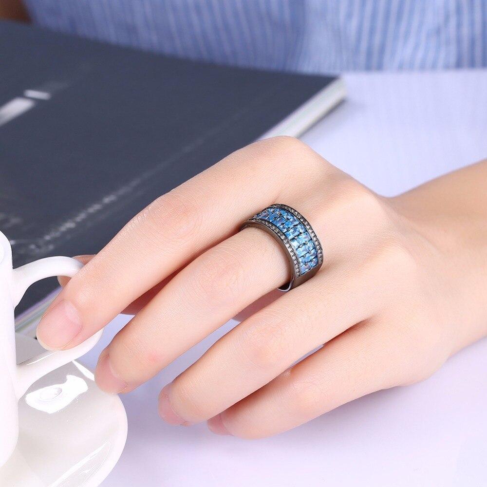 GNIMEGIL Brand Jewelry Women\'s Ring Blue Crystal Tension Setting ...