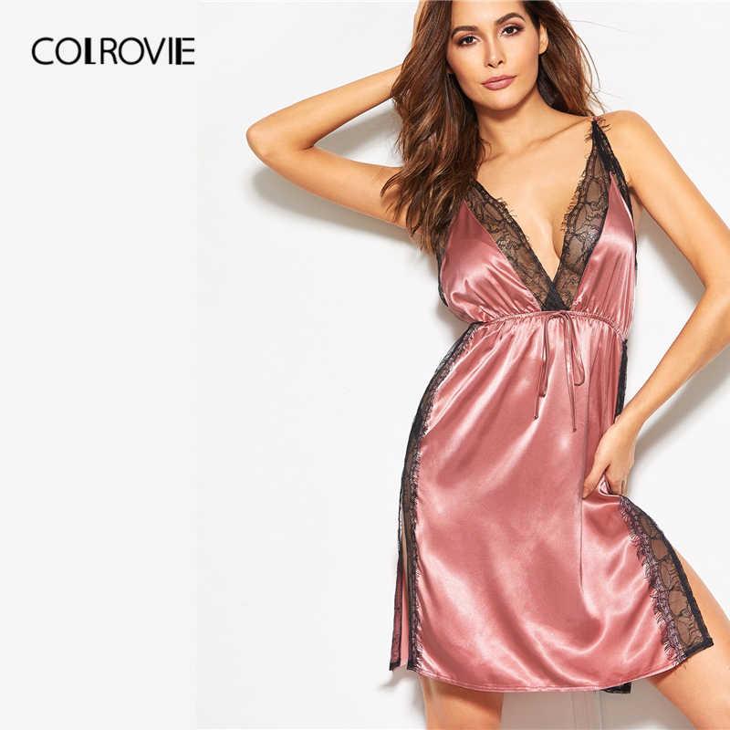 COLROVIE, розовое кружевное платье с открытой спиной, с высоким разрезом, атласное, на бретельках, ночное платье для женщин, лето 2019, без рукавов, сексуальная одежда для сна, ночные рубашки