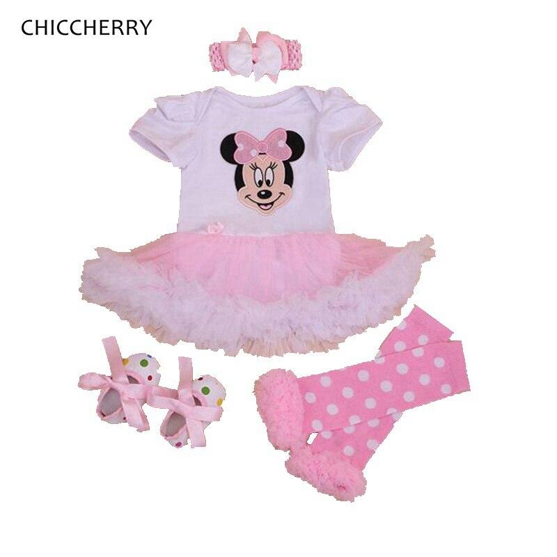 a55008296934d Mode Mignon Minnie Bebe Combinaisons robe de fête D anniversaire de Filles  Tenues 4 pièces Bébé Fille ensemble de vêtements d été Infantile Vêtements
