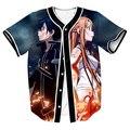 Anime Sword Art Online Jersey Men Women Short Sleeve Button Overshirt Streetwear Hip Hop Tops Tees Hipster Baseball Jersey Shirt
