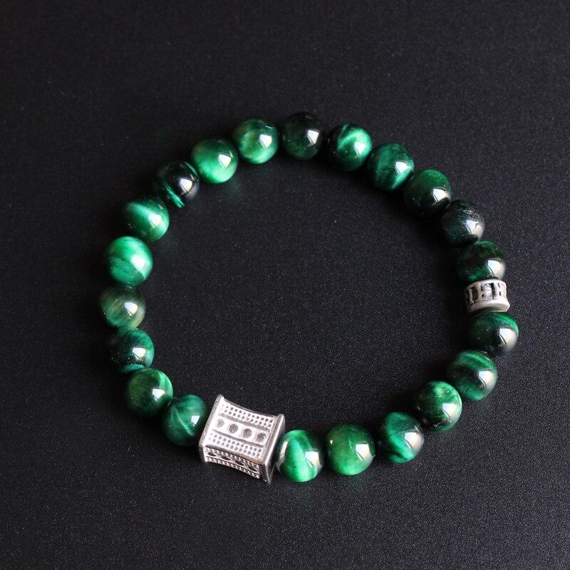 Eastisan Grün Cobra Auge Stein Perle Mit Tibetischen Buddhismus Sechs wahre Worte Charm Armband Für Mann Frau Yoga Meditation OM schmuck