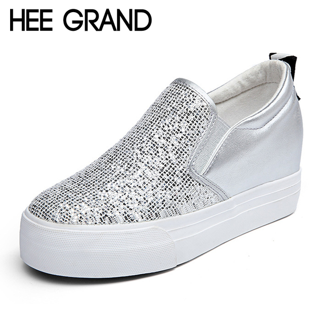 HEE GRAND 2017 Platform Shoes Woman Silver Glitter Loafers Creepers Slip On Wedges Casual Spring Women Flats Shoes XWD4965