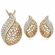 АААА + стразы пламя полые листья кулон ожерелье серьги Модный