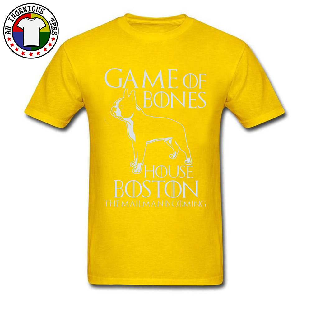 Game of bones house bosto24521 Tees Brand O Neck Slim Fit Short Sleeve 100% Cotton Fabric Mens Top T-shirts Unique Tops Tees Game of bones house bosto24521 yellow