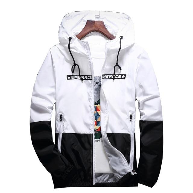 New Spring Autumn Bomber Hooded Jacket Men Casual Slim Patchwork Windbreaker Jacket Male Outwear Zipper Thin Coat Brand Clothing 1