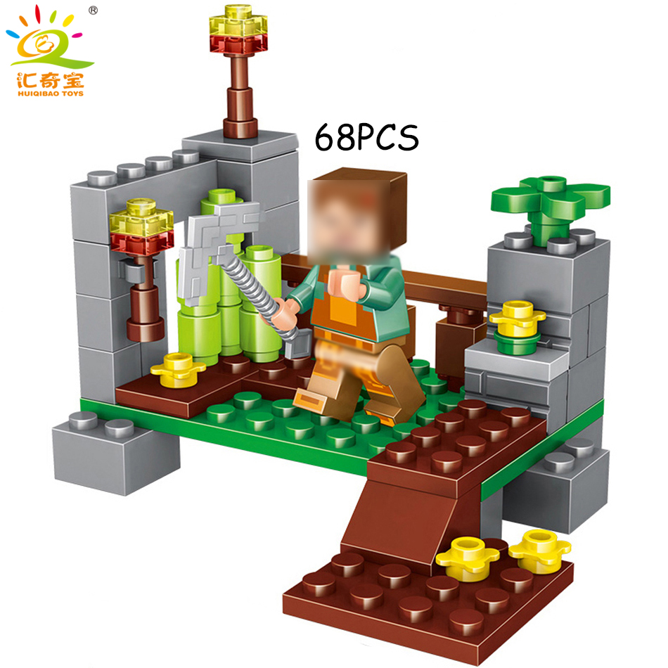 4 in 1 MY World Minecrafted Building Blocks With Figures Compatible Legoed City DIY Enlighten Bricks Toys Gift For Children Boys 10162 friends city park cafe building blocks bricks toys girl game toys for children house gift compatible with lego gift