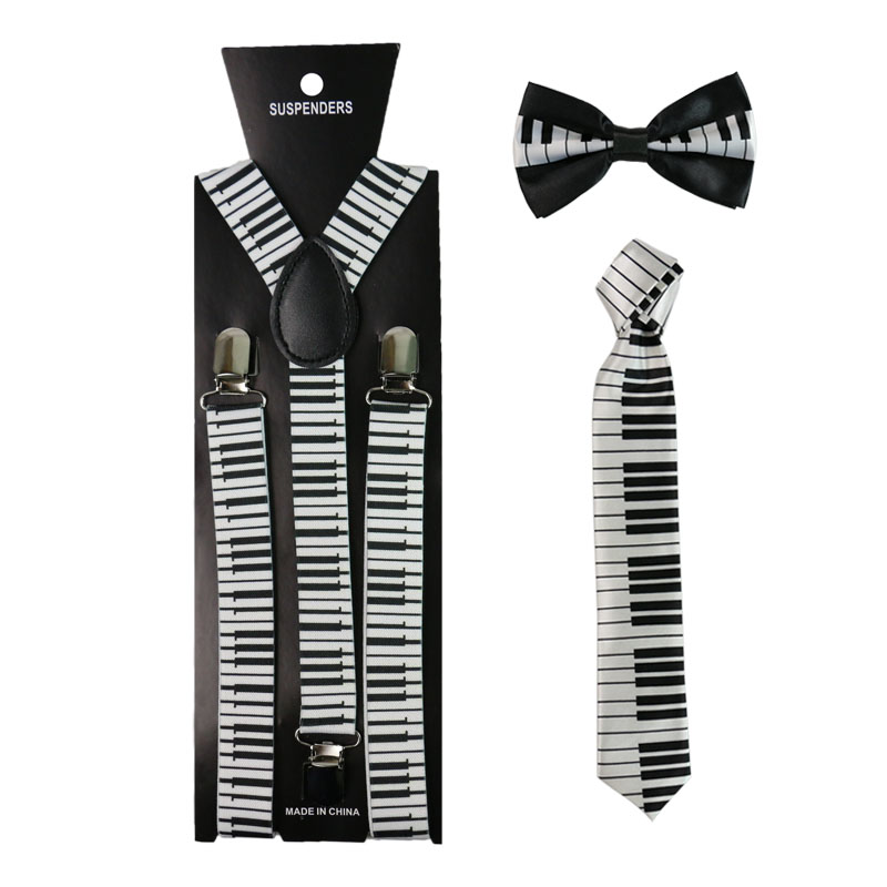 Musical Notes Keyboard Print Suspenders Necktie And Bowtie Set Clip-on Elastic Y-Shape Back Braces Suspenders For Women Men