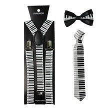 Musical Notes Keyboard Print Suspenders Necktie And Bowtie Set Clip-on Elastic Y-Shape Back Braces Suspenders For Women Men