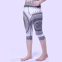 Women's Print Pattern High Waist Running Tights Breathable Yoga Fitness GYM Pants Leggings Slim Mid Calf Outdoor Sports Clothing