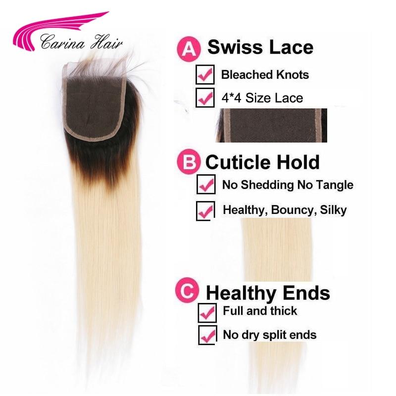 Carina Ombre flokë të drejtë flokëverdhë Dantella Zvicerane 4 * - Flokët e njeriut (të zeza) - Foto 5
