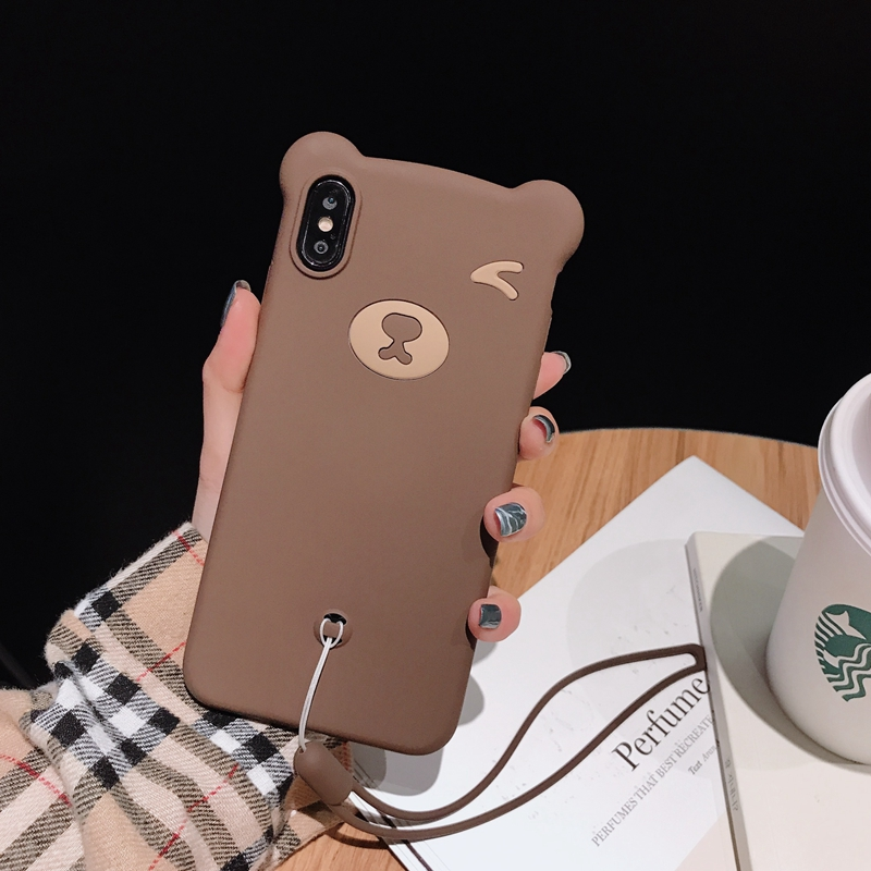 Silicone all soft phone case for iPhone 8 7 6 6s cover case for iphone X 10 XR XS MAX Liquid bear capinha fandas phone case capa in Fitted Cases from Cellphones Telecommunications