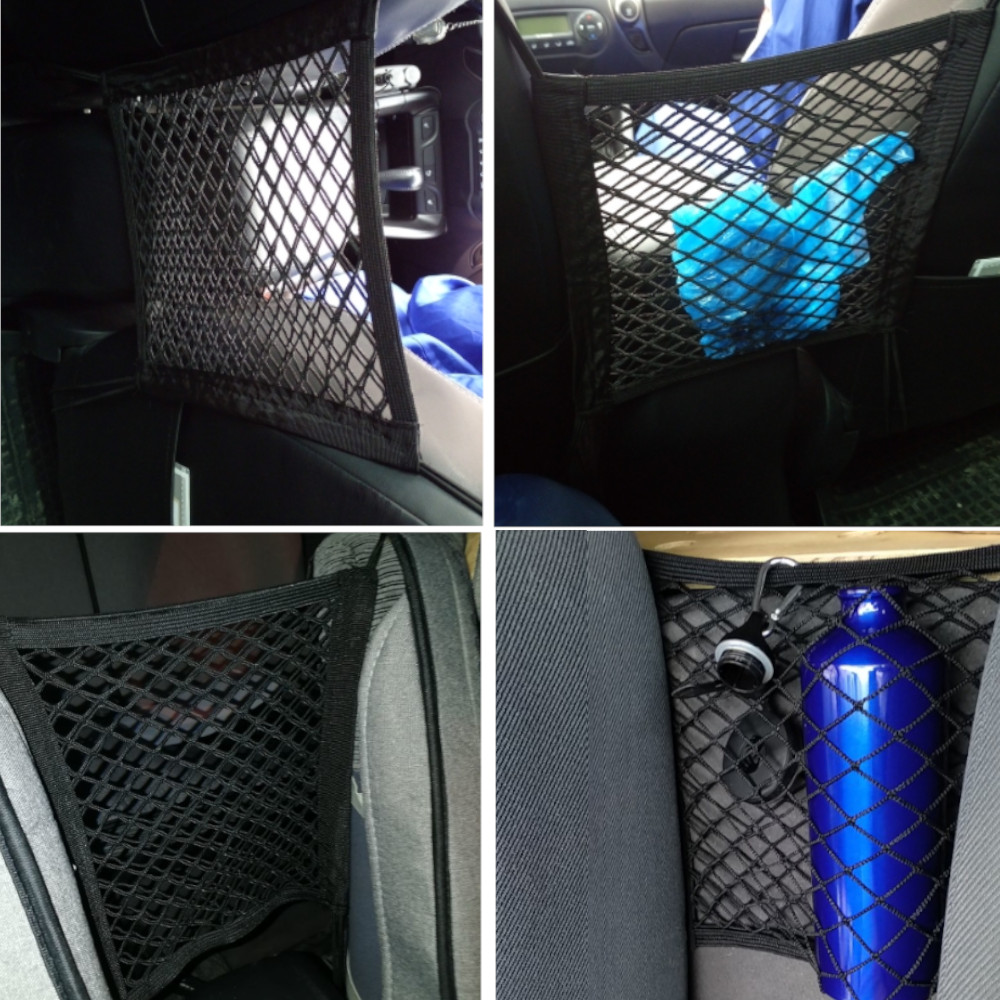 New Black Car Organizer Seat Back Storage Elastic Car Mesh Net Bag Between Bag Luggage Holder Pocket for Auto Cars 30*25CM Pakistan