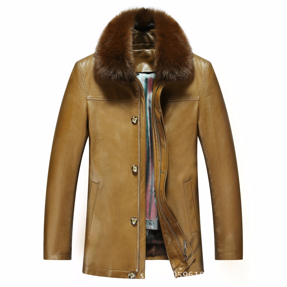 817 New Fashion Winter Clothing Men's long Jacket Leather Coat Men's Leather Coat Winter Rabbit Fur linning Mink Fur Jacket