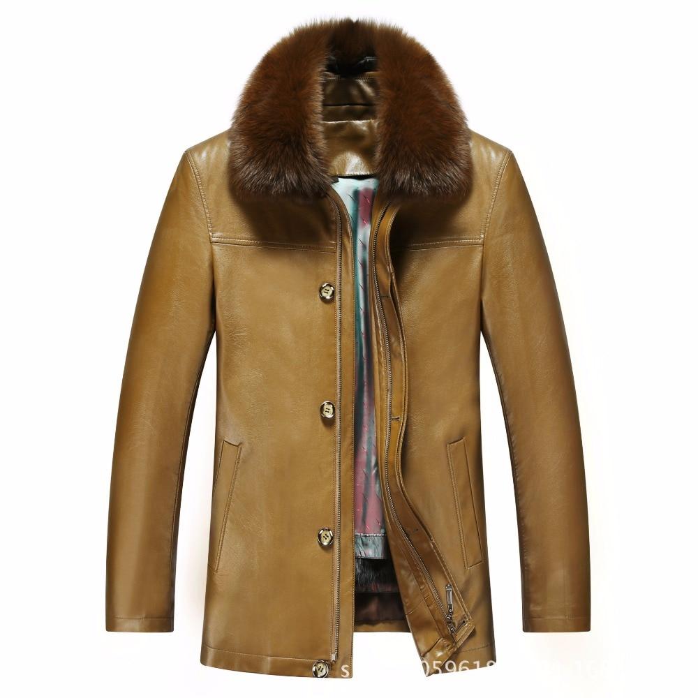 817 nouvelle mode hiver vêtements hommes veste longue en cuir manteau hommes en cuir manteau hiver lapin fourrure doublure vison fourrure veste