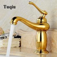 Basin Faucet Antique Water Tap Gold Bathroom Faucet hot & cold Brass Faucet Black Oil Sink Faucet with two plumbing hoses