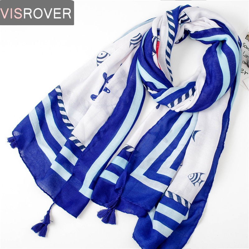 VISROVER lady beach dress with tassel spring summer   scarf   women   wrap   silk   scarf   shawl Navy printing style blue hijab