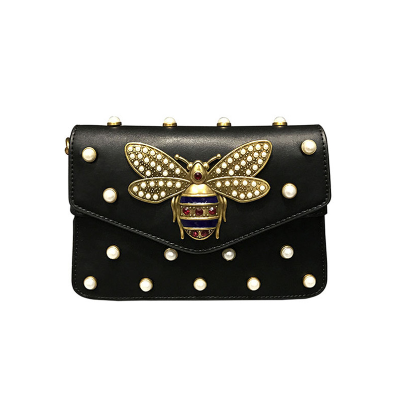 2018 Fashion Women Handbags Lady PU Leather Pearl Rivet Bee Chains Woman Black Hand Bag Messenger Bags Fabric Shoulder Strap