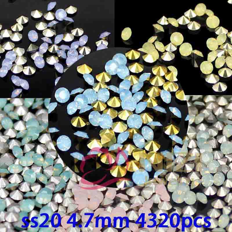 Wholesale ss20 4.7mm 4320pcs Resin Rhinestones Round Shape Pointback Glue On Diamonds 6 Color DIY Crafts Jewelry Accessories
